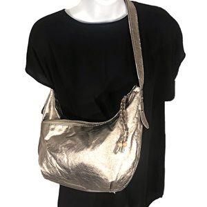 The Sak Metallic Pewter Shoulder Bag Purse GOOD 👛